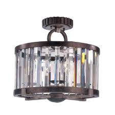 crystal semi flush mount lighting foster grecian bronze semi flush mount with cut crystal shade kalco