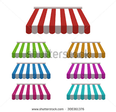 Awnings For Shops Set Striped Awnings Shop Marketplace Isolated Stock Vector