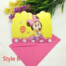 Minnie Mouse Invitation Card Aliexpress Com Buy 12pcs Invitation Cards 12pcs Envelope Kid