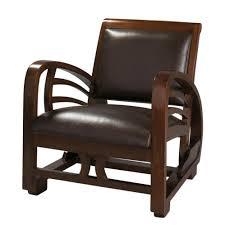 fauteuil de la maison fauteuil en croûte de cuir marron charleston maisons du monde