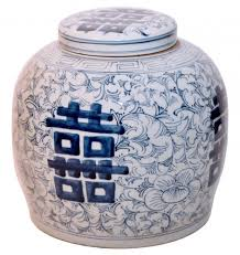 white ginger jar ginger jar in blue and white chinese porcelain with calligraphy