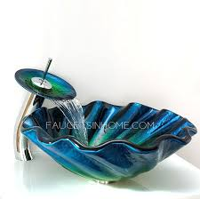 blue glass vessel sink blue glass vessel sinks for bathrooms shell shape faucet included