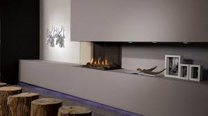 gas fireplace contemporary closed hearth 3 sided triple
