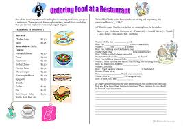 ordering food at a restaurant ordering a meal worksheet free