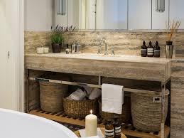 Wicker Bathroom Furniture Bathroom Gray Walls Candles Recessed Lighting Freestanding Tub