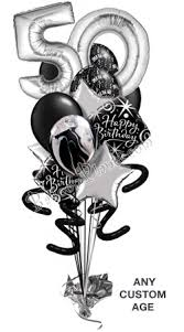 30th birthday balloon bouquets black and white 50th ove the hill balloon bouquets custom age