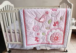 Crib Bedding Set With Bumper Shop Three Dimensional Embroidery Bird Flowers Crib Baby