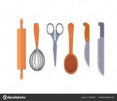 objets de cuisine ustensiles de cuisine set de vecteur outils de cuisine plat style