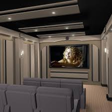 modern home theater room interior with flat screen tv angled