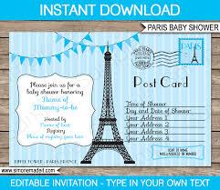 blue paris baby shower invitation printable template