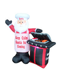 chef santa claus barbecue bbq yard decoration nor cal