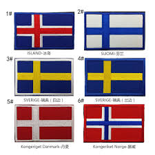 Flag Iceland 3pcs Six Countries 3d Embroidery Iceland Finland Flag Patch Norway