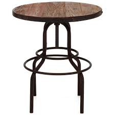 twin peaks round bistro table antique metal distressed natural