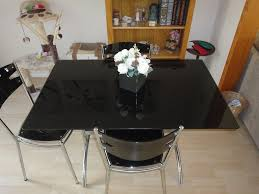 glass top l table dining kitchen table chrome and black glass top l 110 cm w 70cm