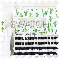 Green And White Crib Bedding Prickly Cactus Black White Ruffle Baby Bedding Swatch Kit
