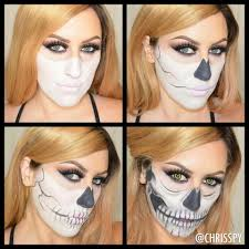 half skull halloween look half skeleton face skeleton face and