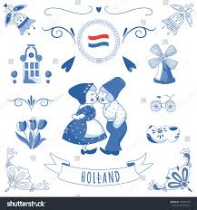 collection ornaments delft blue style stock vector 246041029