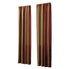 Allen Roth Curtains Allen Roth Alison 84 In L Striped Red Rod Pocket Window Curtain