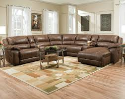 furniture brown leather and velvet deep sectional couch with