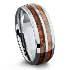 wood wedding rings 8mm silver tungsten koa wood ring with tungsten stripe free