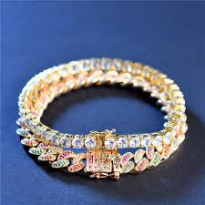 colored tennis bracelet images New arrival multi colored iced out cuban link bracelet tennis jpg