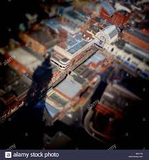 aerial view of blackpool winter gardens and shadow of tower using