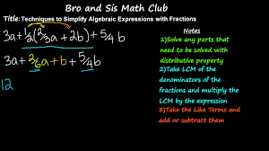simplifying algebraic expressions with fractions 7th grade math