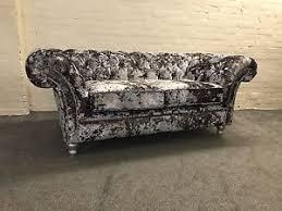 fabric chesterfield sofa silver premium crushed velvet avaliable