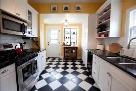 galley kitchen with black and white floor tiles tips to choose