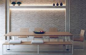 exposed brick wall lighting love the brick wall with light wood dining table for bathroom wall
