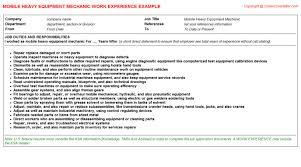 Auto Mechanic Job Description Resume by Mobile Heavy Equipment Mechanic Cv Work Experience