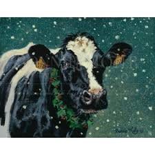 to winter print featuring a beautiful holstein cow