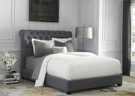 bedroom set with upholstered wood and dark gray linen fabric finish