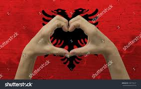 Anonymous Flag Stylized Albanian Flag Background Anonymous Persons Stock Photo
