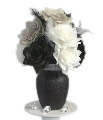 White Floral Arrangements Centerpieces by Items Similar To Black And White Centerpiece Paper Flower Decor