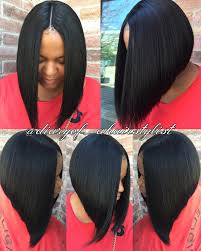 black hair weave part in the middle invisible part quick weave bob razored to perfection