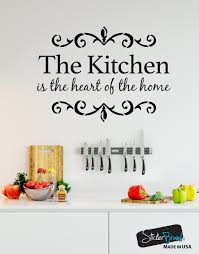 the kitchen is the heart of the home quote vinyl wall decal 6079