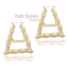 Name Hoop Earrings Door Knocker Large Bamboo Earrings With Name In Triangle Shape