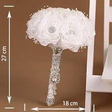 Wedding Bouquets Cheap Handmade White Rose Flower Wedding Bouquet Brooch Crystal Pearls