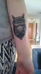 tattoo girl owl girl lower sleeve with amazing and simple owl tattoo golfian com