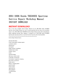2001 2006 honda trx300 ex sportrax service repair workshop manual ins u2026