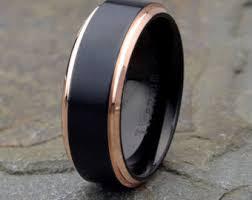 mens black titanium wedding bands mens titanium ring etsy