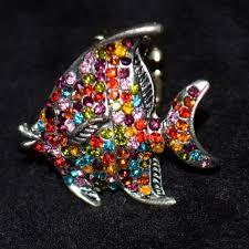 vintage fish ring holder images Jewelry vintage rhinestone fish animal stretch ring poshmark jpeg