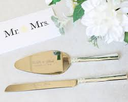 wedding gift knife set personalized wedding gold leaf cake knife and server set