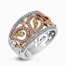 right ring 18k white yellow gold diamond right ring paisley