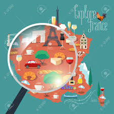 Map Of Paris France Map Of France Vector Isolated Illustration Set Of Icons With