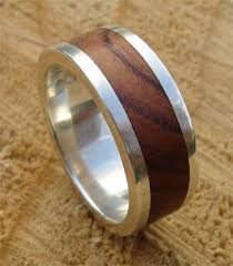 mens wooden wedding bands mens wooden inlay silver wedding ring love2have in the uk