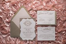blush and gold wedding invitations metallic gold