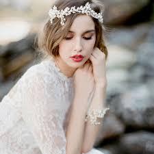 wedding headpiece handmade silver floral pearl headband leaf wedding headpiece