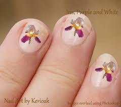 iris flower nail art purple and yellow iris nail art